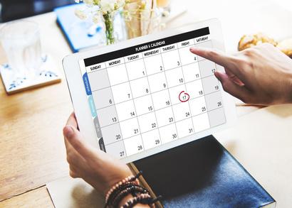 Kalender auf einem Tablet angezeigt